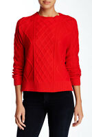 Rachel Zoe Red Tan Elbow Patch Crew Neck Cable Knit Pullover Sweater Size Large
