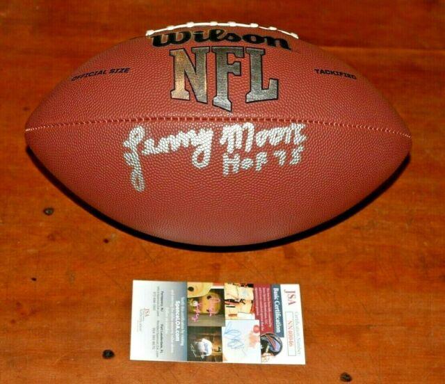 LENNY MOORE Signed Wilson NFL Full Sized Football-HOF-Baltimore Colts-JSA COA