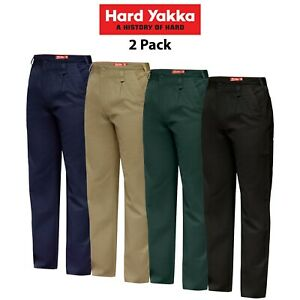 Mens-Hard-Yakka-Cotton-Drill-Pants-Trouser-Work-Tough-Heavy-Duty-Strong-Y02501