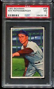 1952-Bowman-Baseball-55-KEN-RAFFENSBERGER-Cincinnati-Reds-PSA-7-NM