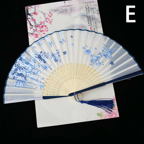 Chinese Flower Silk Lace Folding Hand Held Fan Wedding Party Dancing Crafts Gift