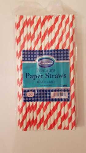Premium Red Stripe De Papel pajas en 50,100 o 150-Multi comprar trato Eco Friendly