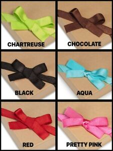 Satin-Stretch-1-2-034-Wide-Elastic-Loop-Pre-Tied-Bow-Choose-Size-Color-amp-Package