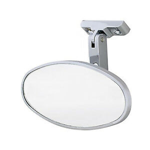 Interior Vintage Oval Chrome Rear View Glass Mirror W