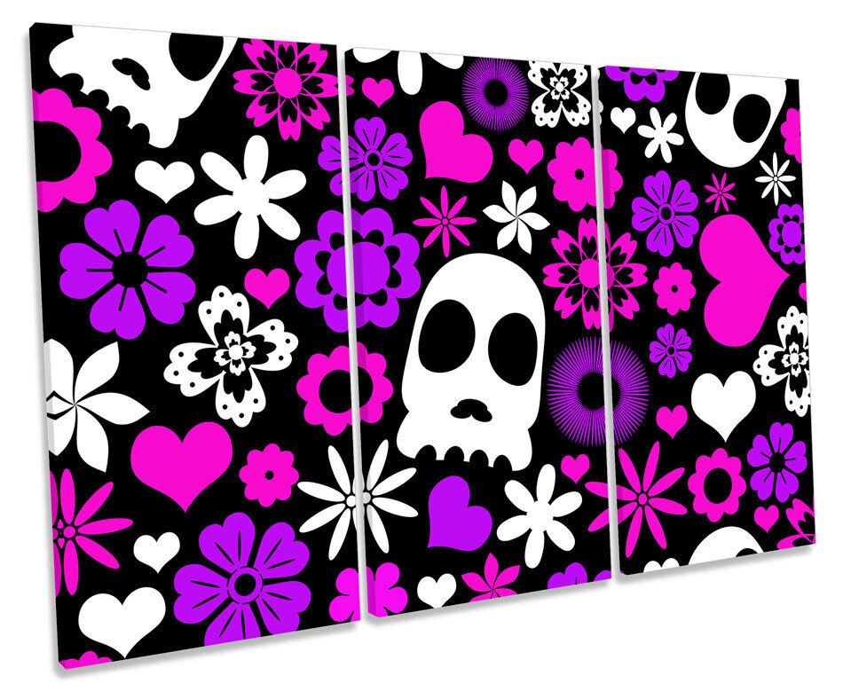 Candy skull urban graffiti treble toile murale art box box box encadrée imprimer bd3e3b