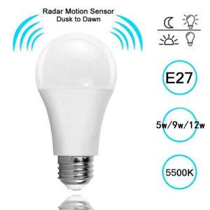 E27 LED  Lampe Birne mit Bewegungsmelder Bewegungsensor Lampe 7W//12W Decor