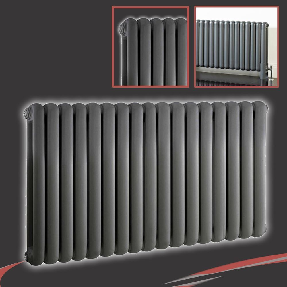 1032mm(w) x 600mm(h)  Elias  Anthracite Multi-Column Horizontal Radiator 5621BTU