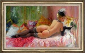 "Hand-painted Original Oil painting art Impressionism nude girl on Canvas 24""X40"""