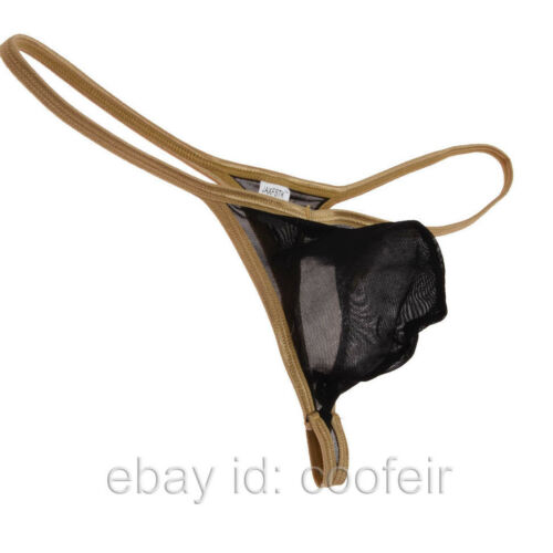Men Sports String T-back Underwear Shiny Bordered See-through Mesh Bikini Thong