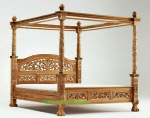 Wooden carved four poster bed, Indian canopy 4 poster bed bedroom furniture