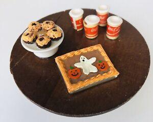 Vtg-Artisan-Dollhouse-Miniature-Halloween-Party-Table-Ghost-Cake-Coke-Treats