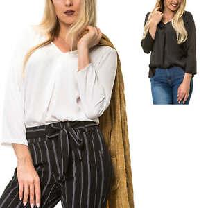 Herrlich Only Damen Bluse Langarmbluse Langarmshirt Blusenshirt V-neck Tunika Damenshirt