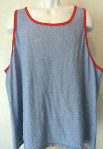 MEN-039-S-BLUE-RED-FRUIT-OF-THE-LOOM-COTTON-TANK-TOP-hipster-men-Ringer-xl-extra-LG