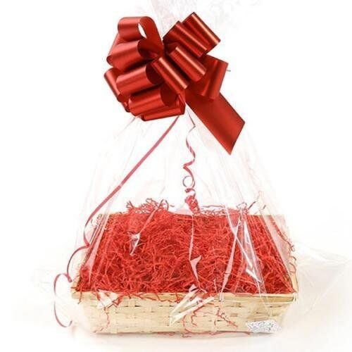 Clear Cellophane Hamper Bag 55 x 70cm /& Shred Red Bow Shrink Wrappable No Basket