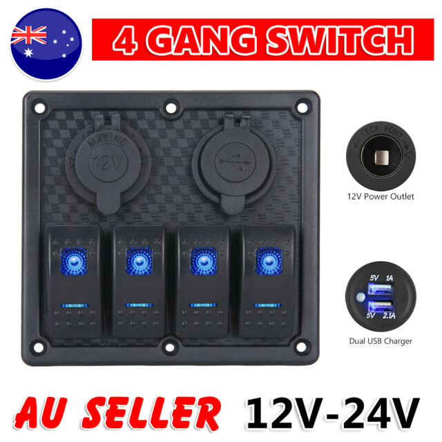 12V Switch Panel 4 Gang LED Rocker Dual USB ON-OFF Toggle For Boat Marine Truck