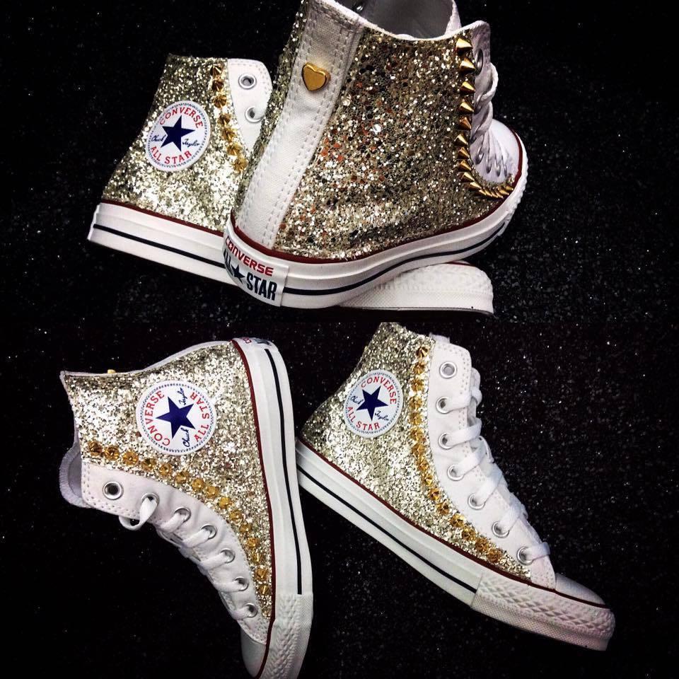 Descuento de la marca Barato y cómodo converse all star bianca con glitter e borchie