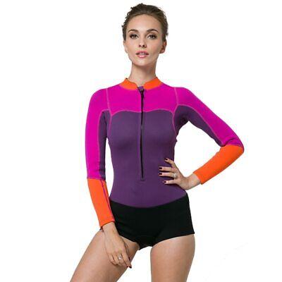 Women 2mm Neoprene Wetsuit Thermal Warm Jumpsuit Scuba Suit One Piece Swimwear
