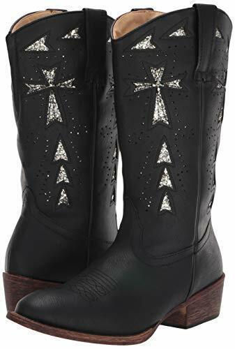 Vintage Black Faux Leather//Glitter Underlay Details about  /Roper Women/'s Glitter Cross 11