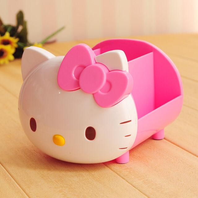 Cute Hello Kitty Pen Pencil Holder Desktop Storage Box Organizer Home Office