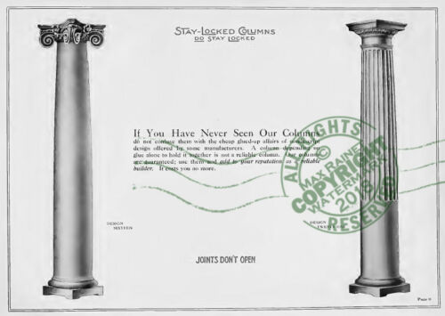 American Column Co 1906 CATALOG Stay Locked Columns Architect Builders Samples