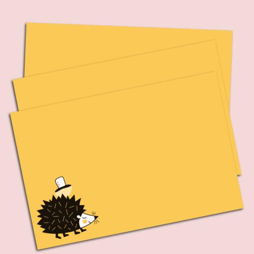 Briefpapier Set Igel gelb DIN A5 Briefpapier Kinder inkl Umschläge