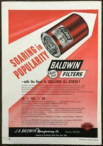 1961 Baldwin Filters Print Ad Soaring in Popularity JA Baldwin Mfg Kearney Neb