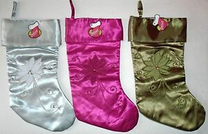 CHRISTMAS-HOLIDAY-STOCKING-SATIN-SEQUINS-EMBROIDERY-15-034-TALL-NWT