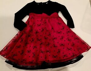 NWT-BLUEBERI-BOULEVARD-Holiday-Dress-Fancy-24M-2T-Girl-52-BLACK-RED