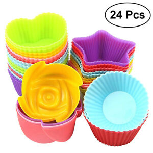 Silicone Muffin Cases 7cm Large Cupcake Moulds Baking Cups Reusable Non-Stick US