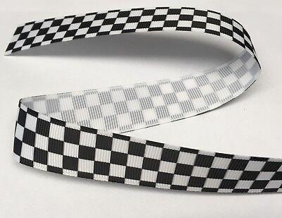 "1m drapeau à damiers formule 1 racing police ruban 7//8/"" 22mm bow gâteau board"