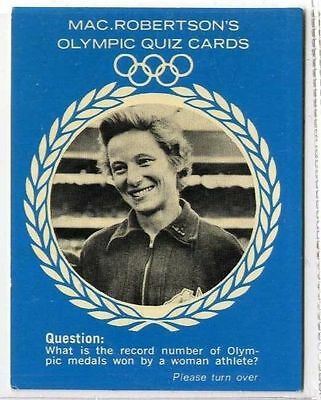 Rare Olympic Quiz 1964 Ex To Make One Feel At Ease And Energetic Shirley Strickland Cheap Price gm311-100 Macrobertsons