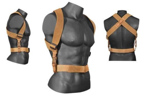 Tactical Combat Suspenders Adjustable Coyote Brown Military Duty Gear Support