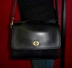 Vintage-Leather-COACH-Navy-COURT-Satchel-Tote-Cross-Body-Purse-Bag-USA