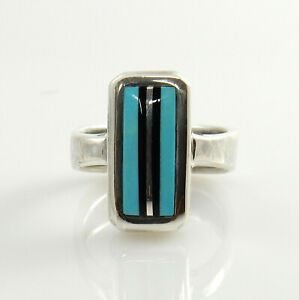 Unique-Modern-Handcrafted-Sterling-Silver-Turquoise-Onyx-Inlay-Ring-Size-7-1-4