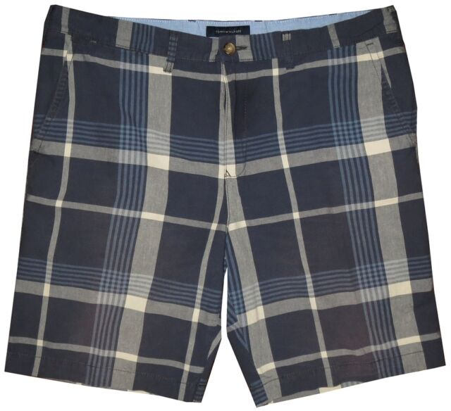 PREOWNED IMPERFECT BEAUTIFUL NAUTICA CHAMBRAY BLUE TONES PLAID SHORTS 40 42