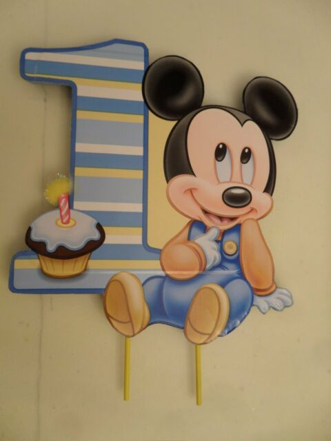 Brilliant Baby Mickey Mouse First Birthday Cake Topper Or Centerpiece For Funny Birthday Cards Online Alyptdamsfinfo