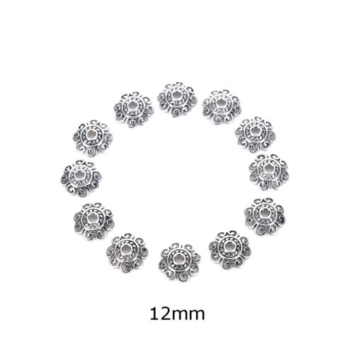 100Pcs Antiqued Silver Flower End Bead Caps For Jewelry Craft DIY JPDIUK
