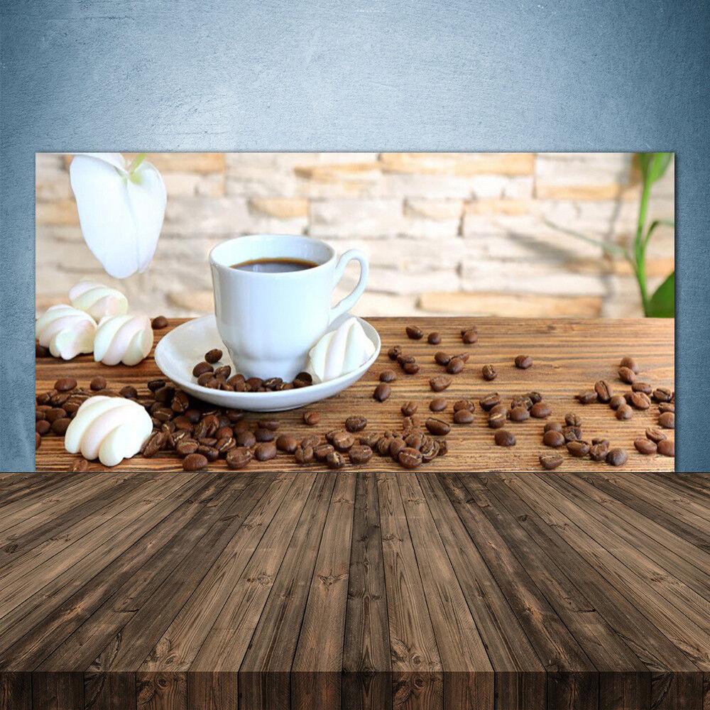 Crédence de cuisine en verre Panneau 140x70 Cuisine Tasse Grains De Café