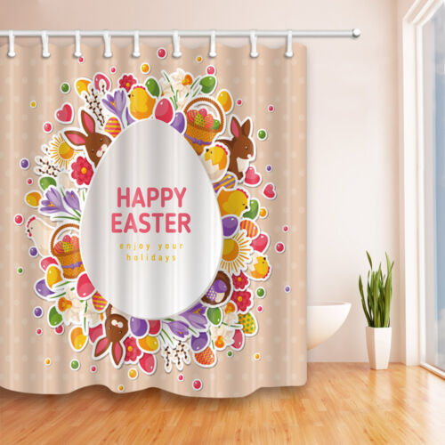 Happy Easter Day Theme Waterproof Fabric Home Decor Shower Curtain Bathroom Mat