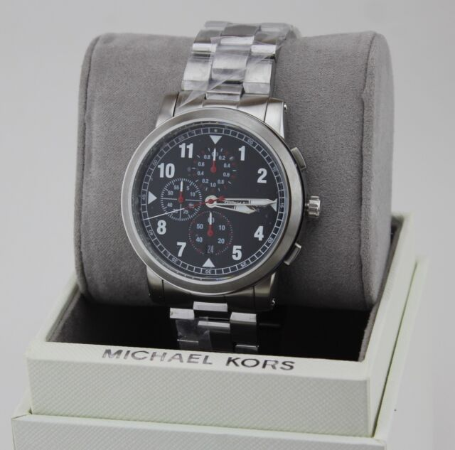 NEW AUTHENTIC MICHAEL KORS PAXTON SILVER BLACK CHRONOGRAPH MEN'S MK8549 WATCH