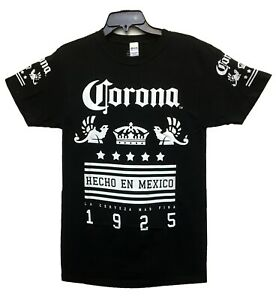 Corona-Men-039-s-Official-Logo-Beer-Hecho-En-Mexico-1925-Licensed-T-Shirt-Black-New