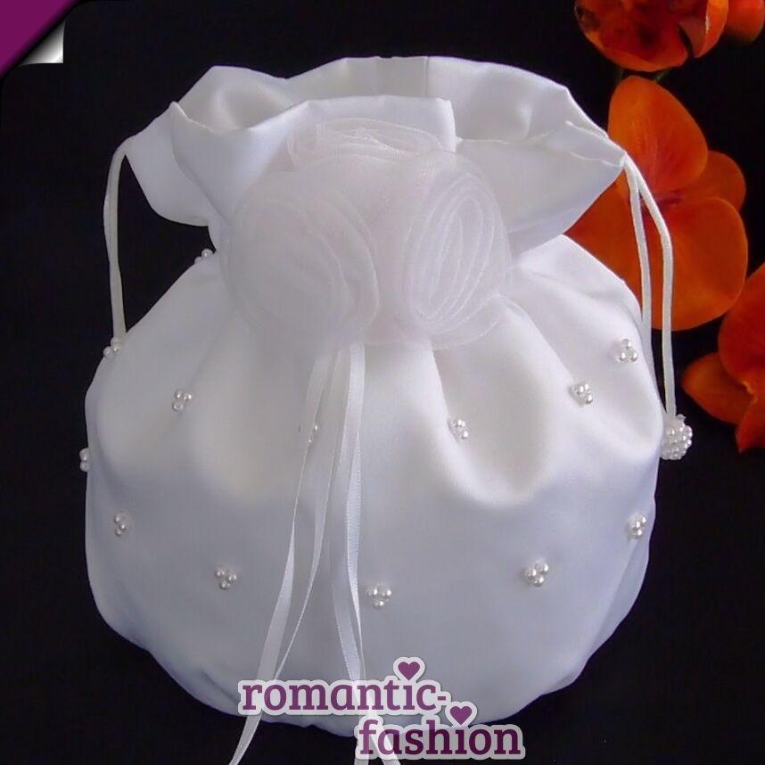 ♥Runder Brautbeutel in Weiß oder Creme NEU+SOFORT+PL9203♥