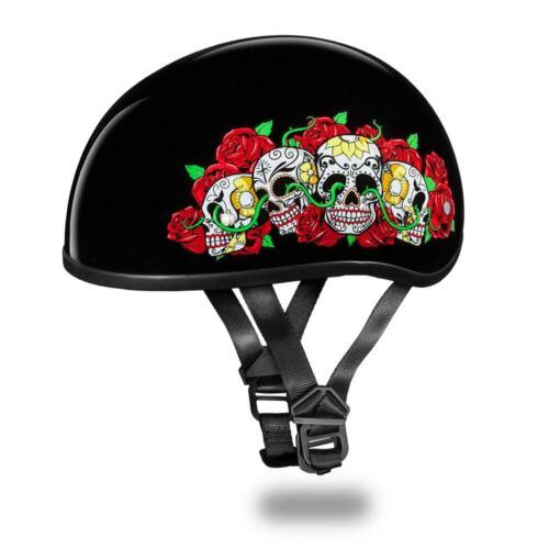 Daytona Helmets Skull Cap W// ROSE SKULLS DOT Motorcycle Helmet D6-RS