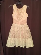 Vintage Women's Lace Party Dress Pink Ivory