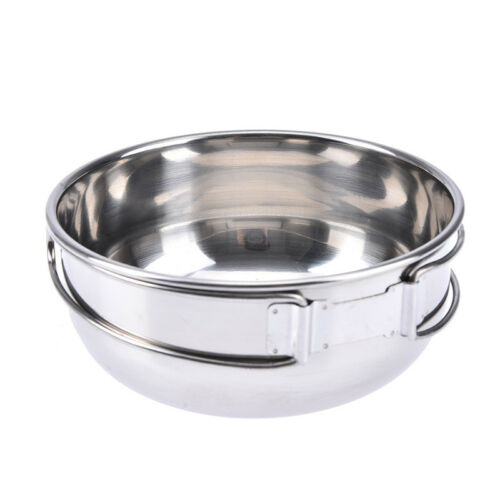 1pc stainless steel folding camping picnic mess tin bowl cookware