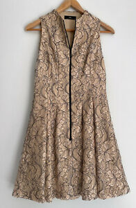 CUE Gorgeous Lace A Line Fit & Flare Zip Front Dress Size 10