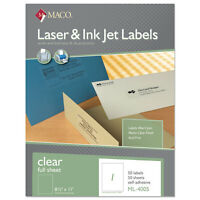 Maco Laser/inkjet Matte Clear Full Sheet Labels 8 1/2 X 11 50/box Ml4005 on sale