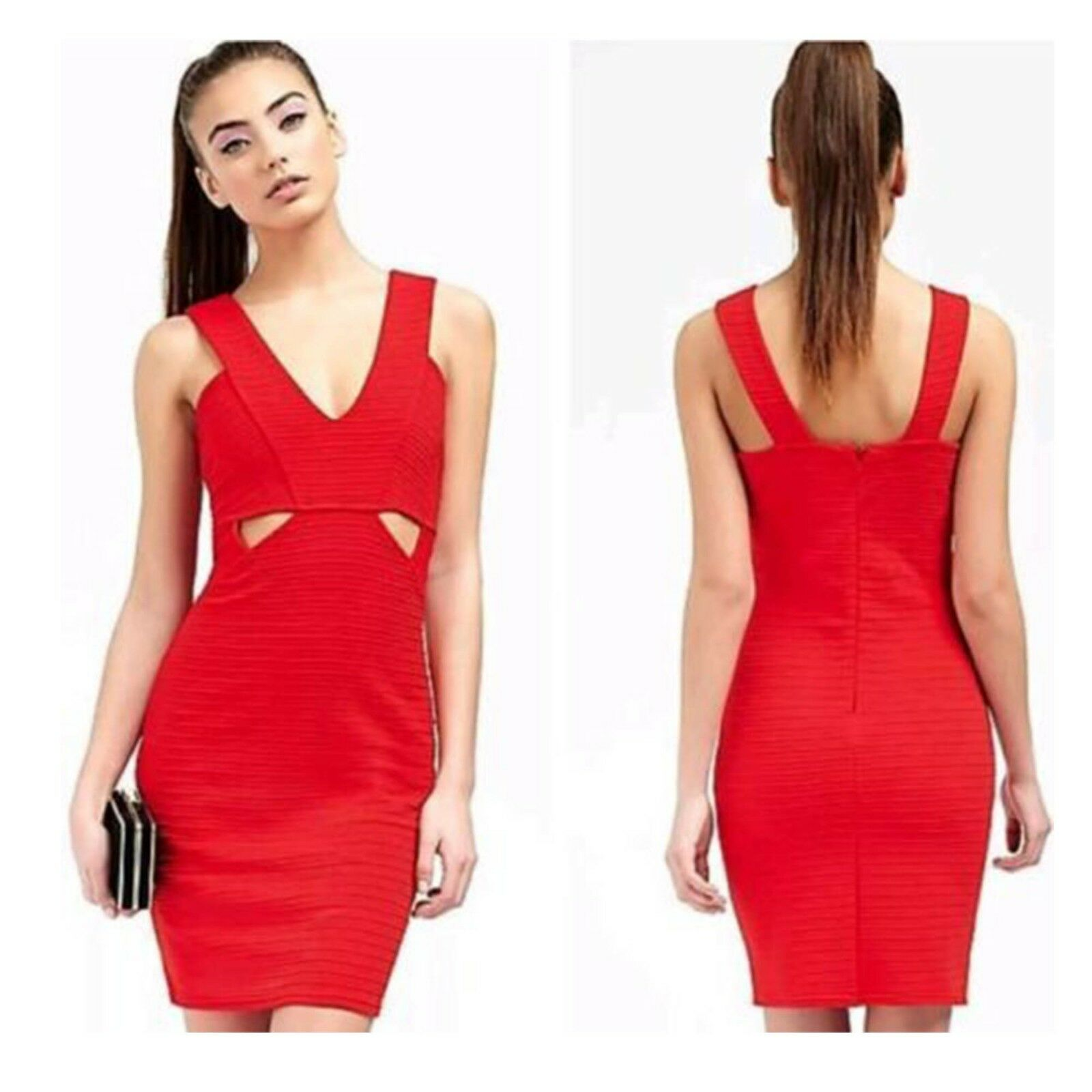ARIANA GRANDE FOR LIPSY RED CUTAWAY BODYCON PARTY EVENING DRESS SIZE 16 BNWT