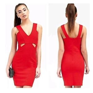 Details About Ariana Grande For Lipsy Red Cutaway Bodycon Party Evening Dress Size 16 Bnwt