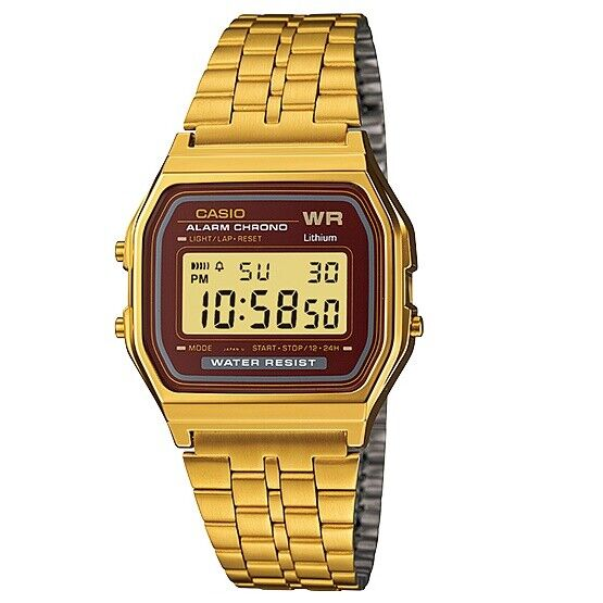 Casio A159WGEA-5 Gold with Brown Face Retro Vintage Style Unisex Digital Watch